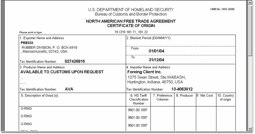 ... de Origen creado en el la opción Modulos->Certificados de Origen